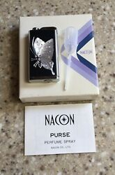 Vtg Nacon Etched Butterfly Design Refillable Purse Perfume Spray Atomizer Unused