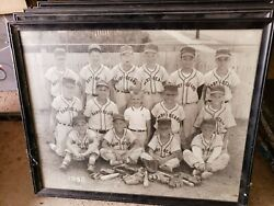 4 Vintage Antique Professionally Framed Youth Baseball Pictures Photos 50and039s 60and039