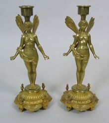 Good Pair Of 19th Century French Gilt Bronze Winged Fairy Candlesticks