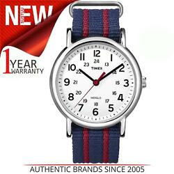 Timex Unisex Weekender White Dial Blue/red Fabric Strap Watch T2n747
