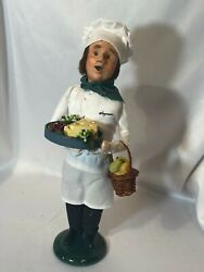 Vintage Byers Choice Christmas Cheese Tray And Pear Basket Chef Caroler13