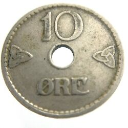1924 Norway 10 Ore Copper Nickel Die Crack Circulated Km 383 Coin T364