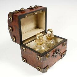 Antique French Perfume Caddy Gothic Style Burl Wood Box Glass Scent Bottles