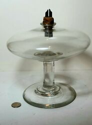Antique American Blown Glass Whale Oil Lamp Pittsburgh 1830s