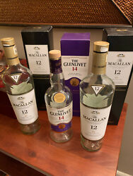 Two Macallan 12 And One Glenlivet 14 Year Scotch Whisky Empty Bottles And Boxes