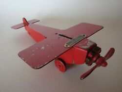 Vintage 20s - 30s Spirit Of Thrift Metal Airplane Promotional Coin Bank - 8