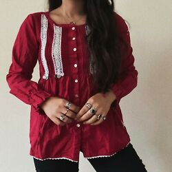 Odd Molly Boho Red Crochet Prairie Lace Blouse Top Hippie Small