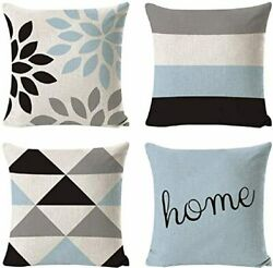 INSHERE Decorative Pillow Covers 18 x 18 Inch Set of 4 Blue Modern Geometric Cot