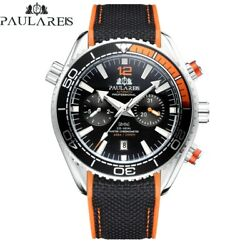 Automatic Self Wind Mechanical Watch Rubber Strap Orange Blue Red Multifunction