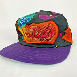 Vintage Iron Kids Bread 1996 Olympics 90#x27;s Bright Neon Leather Strapback Hat