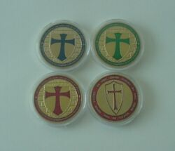 4 Different Knights Templar Gold Plated Colored Green Blue Red Coins