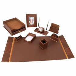 Set Table Made Of Leather 9 Subjects Under The Smooth Skin 231190 Brown Stand...
