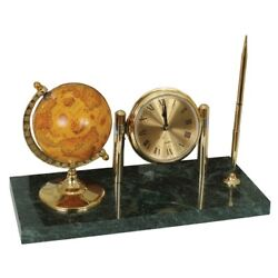 Clock On A Stand Made Of Marble With A Globe And A Ballpoint Pen 231 199 Stan...