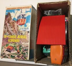 Japanese Bi-cable Aerial Ropeway Cable Car Tin And Plastic Battery Operated Set
