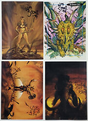 William Stout Lost Worlds Of Saurians Sorcerers 4 Autograph Signed Cards Lot