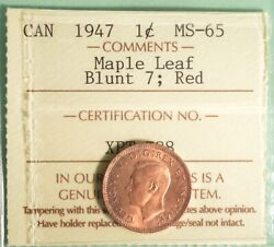 1947ml - Canada Penny - Blunt 7 - Graded - Iccs Ms-65 Red - Serial Xpt 788