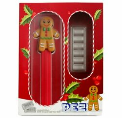 Pez Gingerbread Man Silver Wafers And Dispenser Gift Set