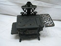 Antique Crescent Cast Iron Toy Wood Cook Stove Doll House W/acc Salesman Sample