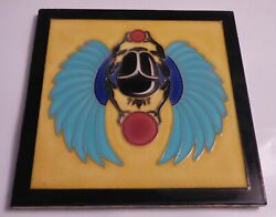 Most Rarest Art Nouveau Deco Tile French Desvres Egyptian Flying Scrab W. Wings