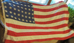 Rare 90x56 Old 48 Star Vertical Weighted American Us Flag Wwii Army Office 7and039