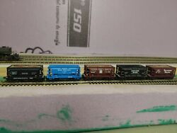 5x N Scale Atlas 70 Ton Ore Cars , Np, Sp, Gn, Atandsf, Soo Line Linked Together