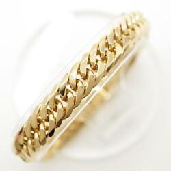 18k Yellow Gold Bracelet About18cm Curb Chain 6sides Double Free Shipping Used