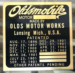 Early Oldsmobile Brass Vin Id Patent Plate Patents 1896-1902 Curved Dash Years
