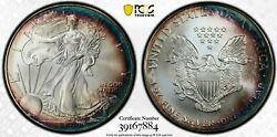 2000 Silver Eagle Pcgs Ms67 Gold Shield Rainbow Toning
