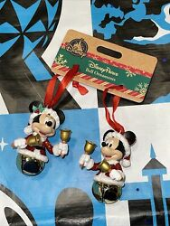 Disney Parks Mickey And Minnie Christmas Jingle Bell Ornaments Pair New 2020