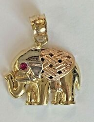 14k Yellow W/ Rose Gold Small Elephant Pendant Charm For Necklace Or Chain Cute