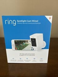 Brand New Ring Spotlight Cam Security Camera White Wired - 1 Year Warranty