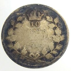 1919 Canada 10 Cent Silver Dime Km 23 Circulated Canadian George V Coin T428