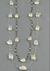 Vintage Large Baroque Pearl And Faceted White Topaz Long Necklace 40.5 Silver