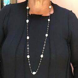 Vintage Large Baroque Pearl And Faceted White Topaz Long Necklace 41 Oxidized