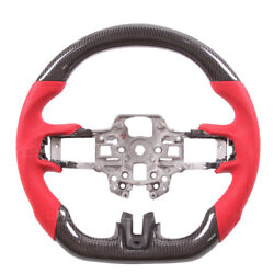 Carbon Fiber Red Leather Steering Wheel For Ford Mustang Ecoboost Gt 2018-20 New