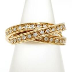 Jewelry 18k Yellow Gold Ring 9japan Size Diamond About7.6g Free Shipping Used
