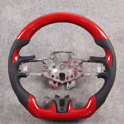 Red Carbon Fiber Perforated Steering Wheel For Ford Mustang Ecoboost Gt V6 15-17