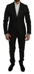 Dolce And Gabbana Suit Black Crystal Bee Slim Fit 2 Piece Eu48/ Us38 / M Rrp 4000