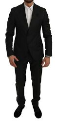 Dolce And Gabbana Suit Black Crystal Bee Slim Fit 2 Piece Eu50/ Us40 / L Rrp 4000