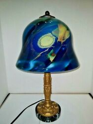 Vtg Art Deco Nouveau Arts And Craft Iron Marble Lamp 1930and039s And Art Glass Shade 2021