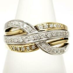 Platinum 900 18k Yellow Gold Ring 15 Size Diamond About9.5g Free Shipping Used