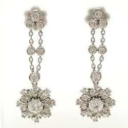 Jewelry 18k White Gold Pierced Earring Diamond About5.5g Free Shipping Used