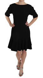 Dolce And Gabbana Dress Crystal Wool Stretch Elbow Sleeves It46/us12 /xl Rrp 2200