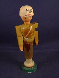 Vintage Wooden Toy Figurine Soldier Military Police Mp
