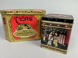 Vintage Chinese Tea Tins Lot Of 2 White Black Red Gold Lidded Oriental Arts