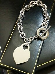 Valentines Day Personalised Engraved Silver Steel Id Heart Toggle Bracelet 8