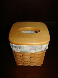 Longaberger Classic Stain Tall Tissue Basket W Lid And Botanical Fields Liner