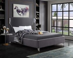 Twin Size Bed Grey Velvet Bedroom Furniture Contemporary Eye Catch Acrylic Leg