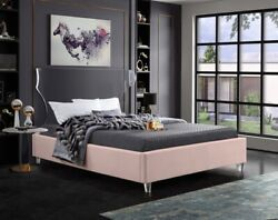 Twin Size Bed Pink Velvet Bedroom Furniture Contemporary Eye Catch Acrylic Leg