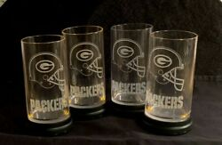 4 Green Bay Packers Rare Starglas Lighted 16 Clear Plastic Logo Mugs Tumblers
